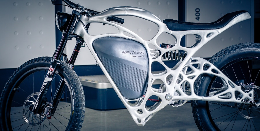 The 3D-printed Light Rider motorcycle (Photo: Airbus APWorks)