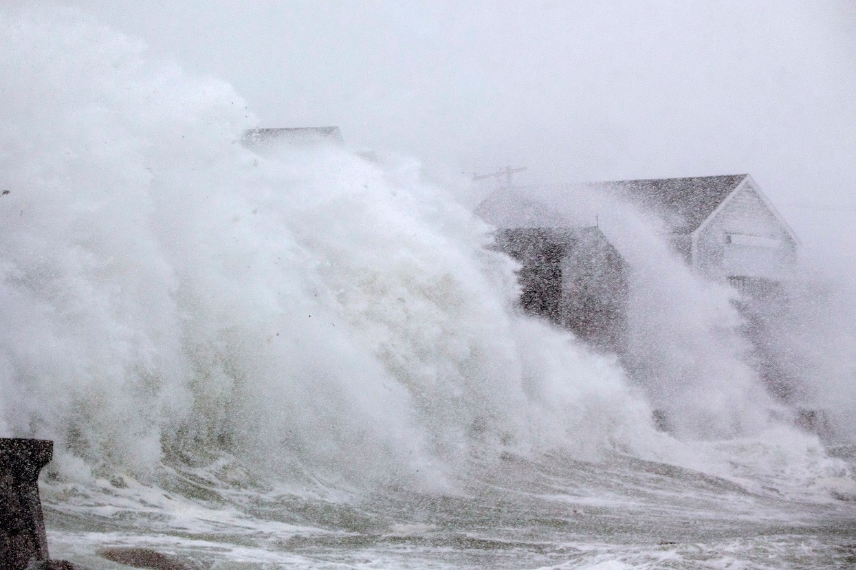 Seawall breach in Scituate, Mass.