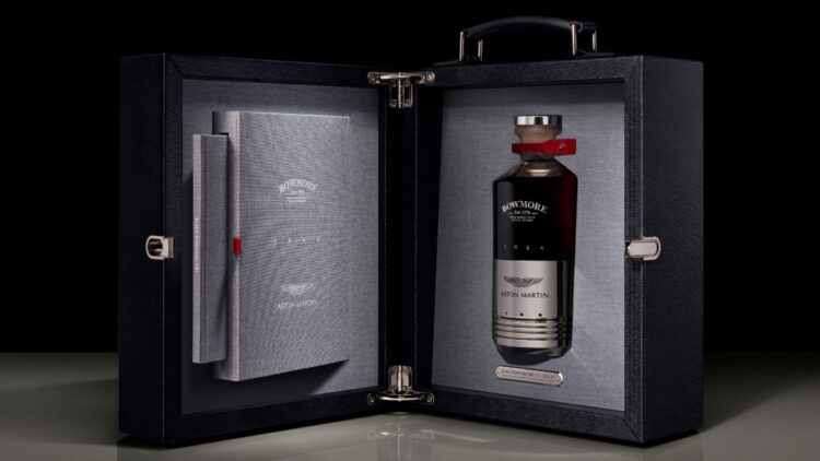 bowmore and aston martin whisky collab promo