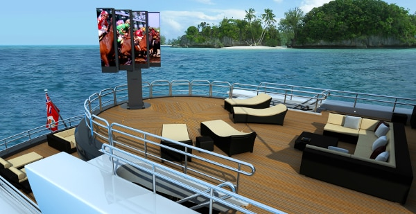 The world's largest outdoor LED TV rises from below deck