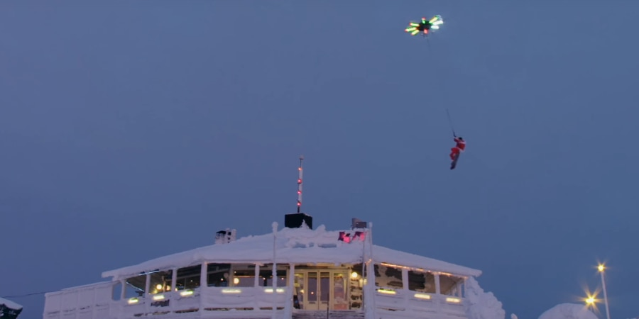 Yes, he's flying over the lodge using just a drone