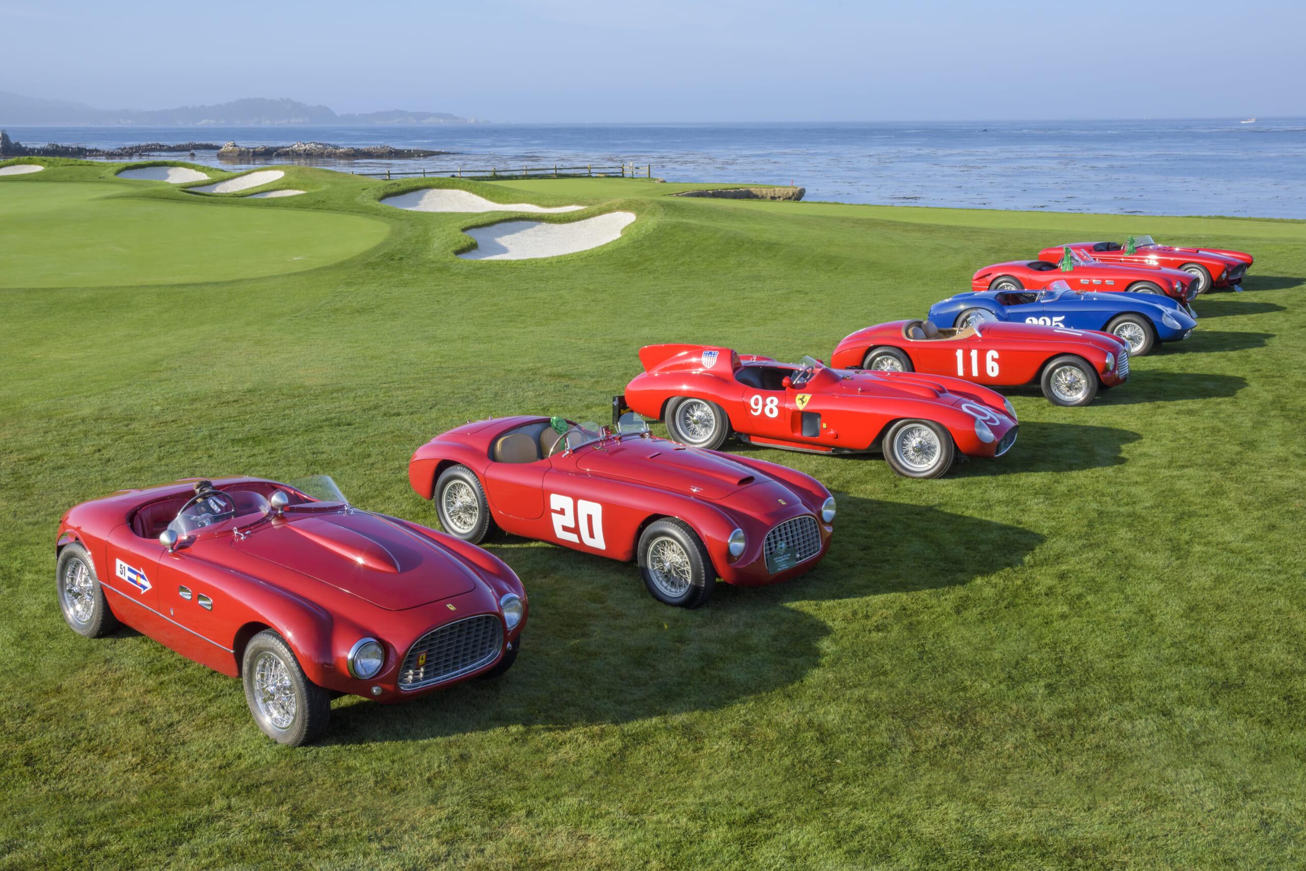 Classic Ferraris - This Ferrari class at Pebble Beach drew a lone blue sheep of the family.