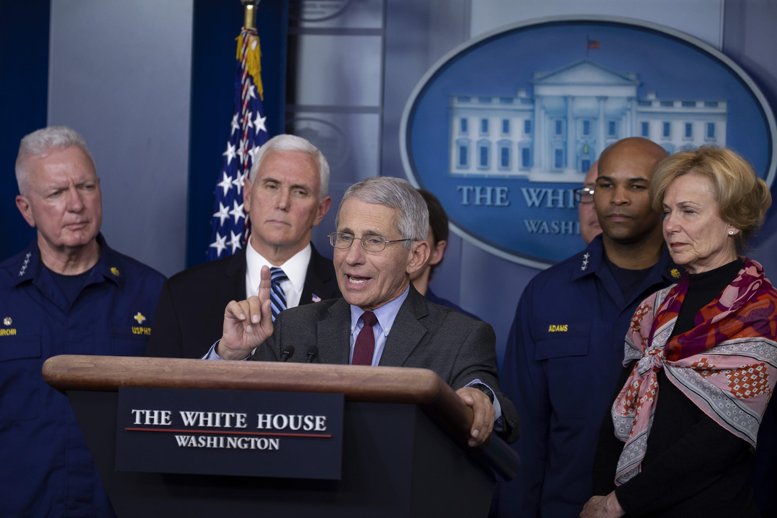 Anthony Fauci, Director of the National Institute of Allergy and Infectious Diseases, speaks to the media in the press briefing room at the White House on March 15, 2020 in Washington, DC. The United States has surpassed 3,000 confirmed cases of the coronavirus, and the death toll climbed to at least 61, with 25 of the deaths associated with the Life Care Center in Kirkland, Washington.