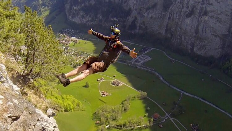 A base jumper equipped with a GoPro