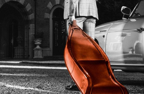A super-classy leather ski equipment bag