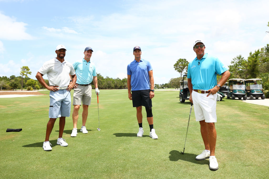 Tiger Woods, Peyton Manning, Tom Brady, and Phil Mickelson.