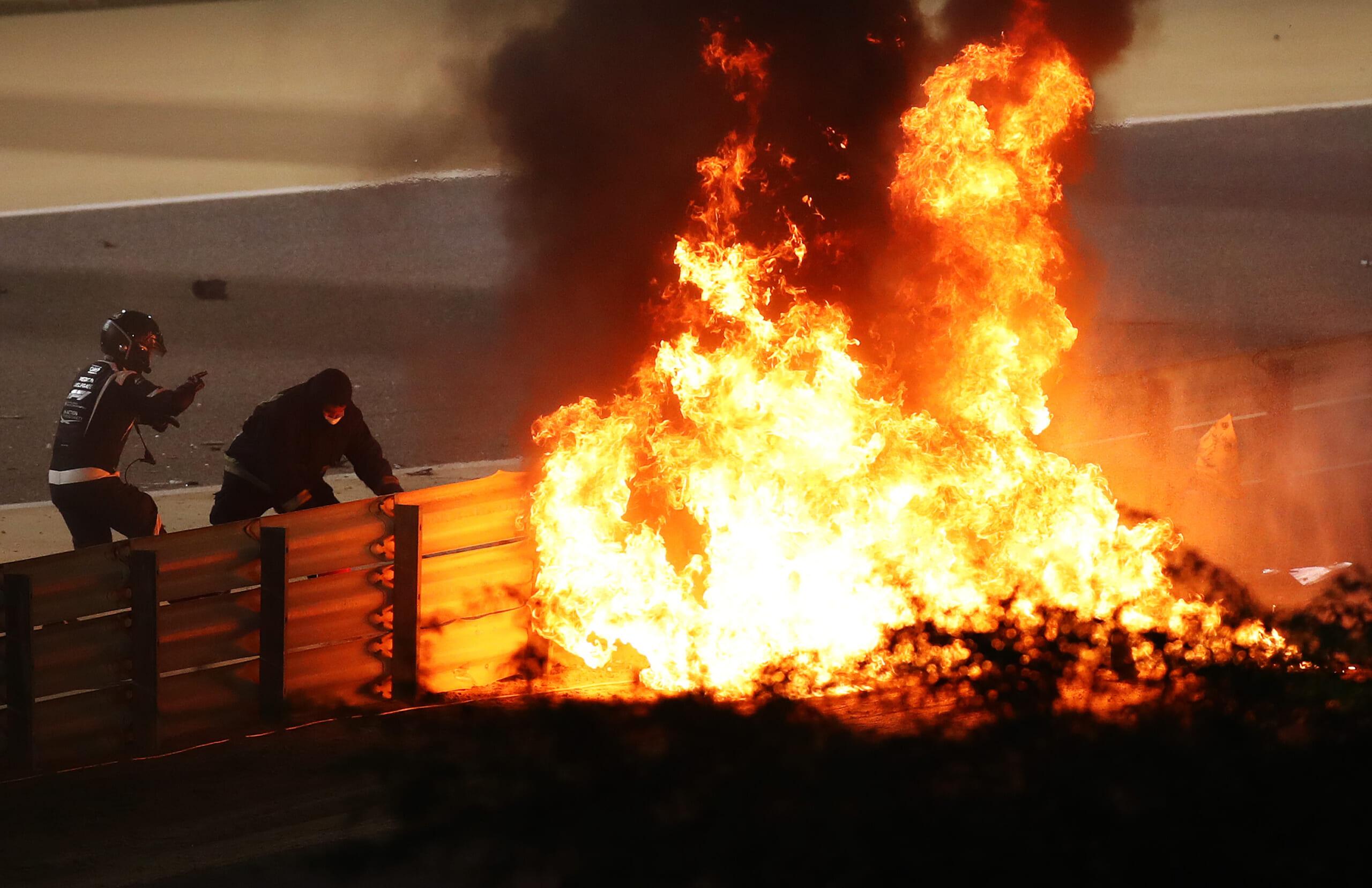 Fiery crash of Romain Grosjean of France and Haas F1 during the F1 Grand Prix of Bahrain on November 29, 2020 in Bahrain, Bahrain.