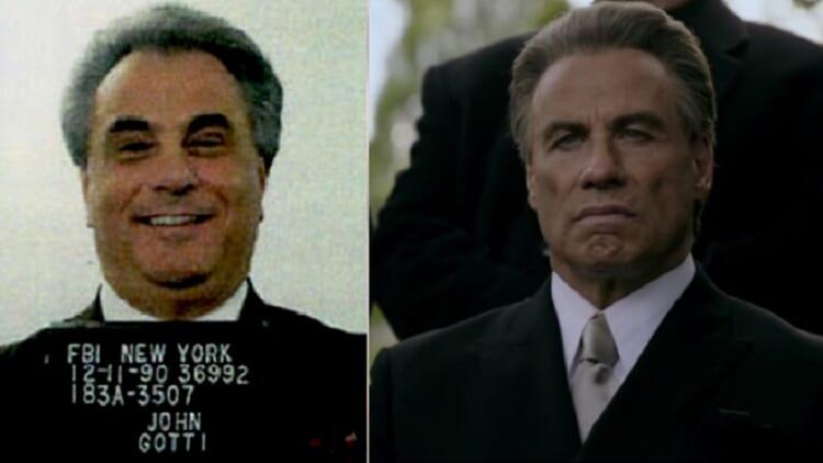 John Gotti mugshot; John Travolta as Gotti