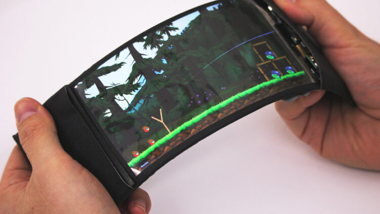 A prototype of the highly bendable ReFlex phone