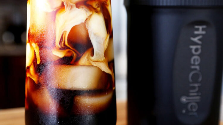 Cools your coffee 130 degrees in one minute