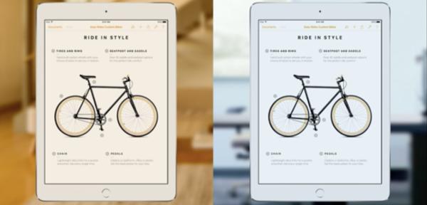 iPad Pro's ambient light sensors match the screen's tone