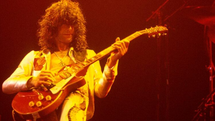 Jimmy Page performs with Led Zeppelin at Madison Square Garden in 1977.