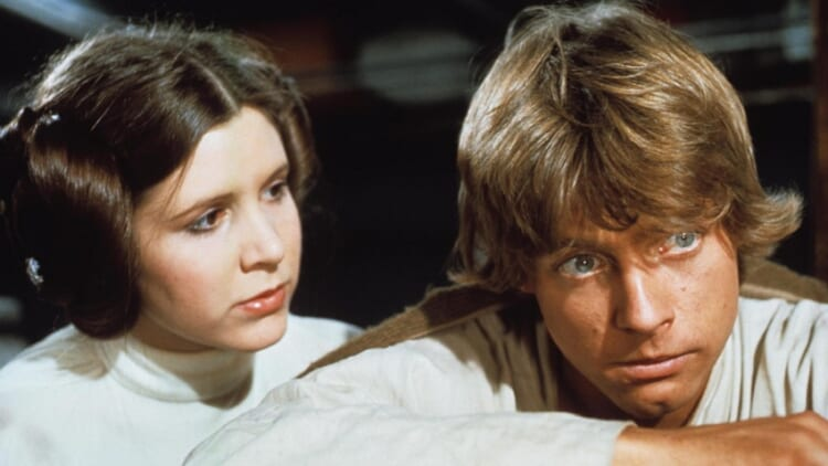 Carrie Fisher as Leia and Mark Hamill as Luke in 'Star Wars'