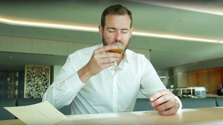 Brian Kelly (a.k.a. The Points Guy) enjoys a pre-flight beverage