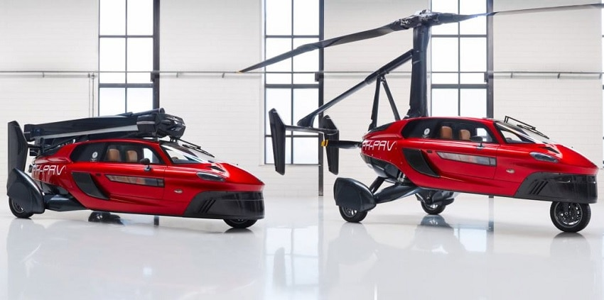 Flying car at rest, flying car ready to fly