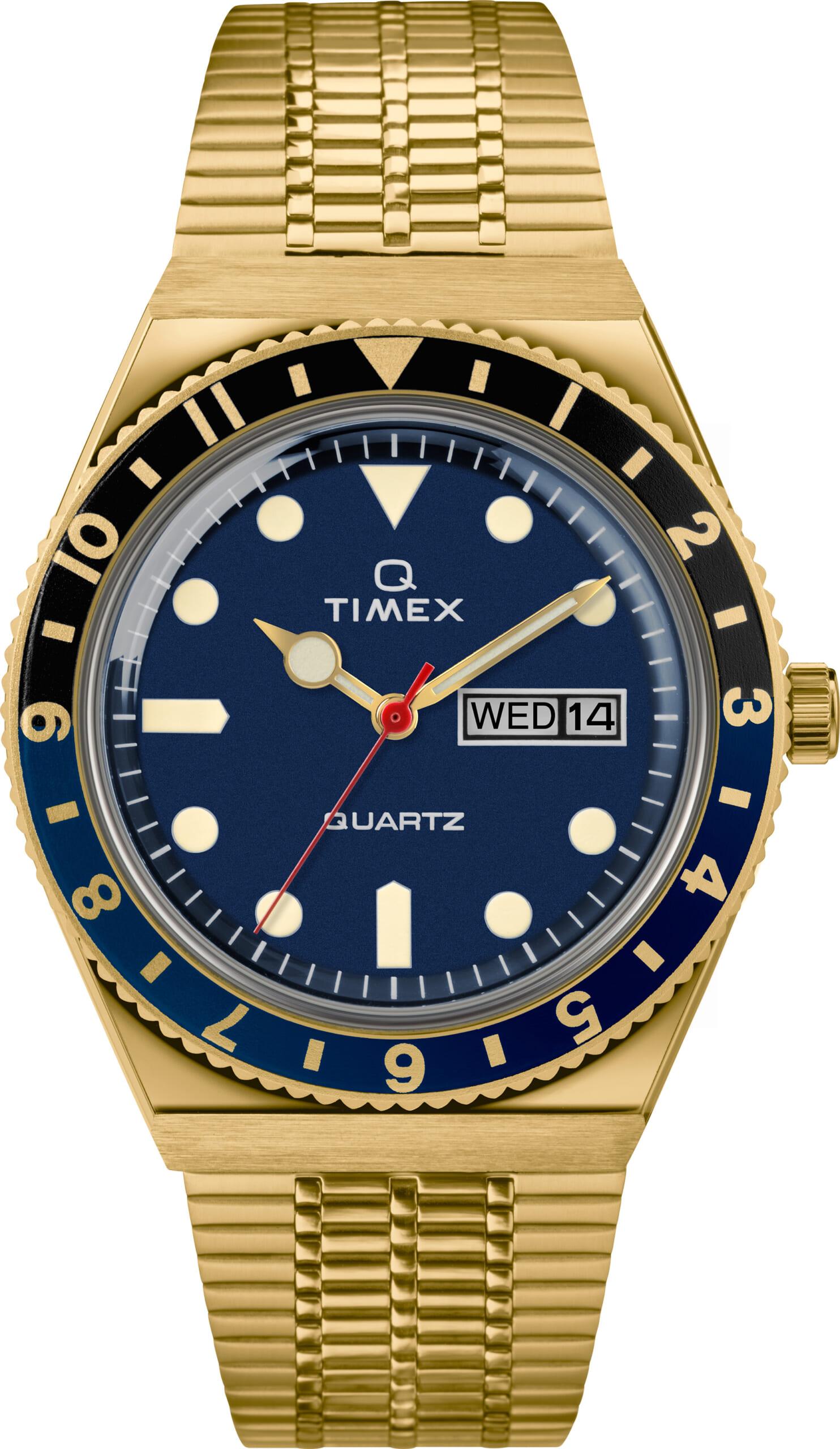 TW2U61400 Yellow Gold-tone Blue Dial Black/Blue ring