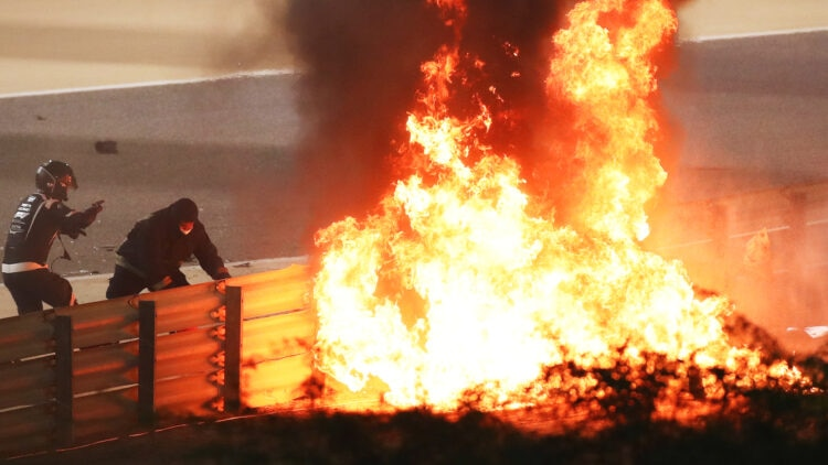 Fire following the crash of Romain Grosjean of France and Haas F1 during the F1 Grand Prix of Bahrain on November 29