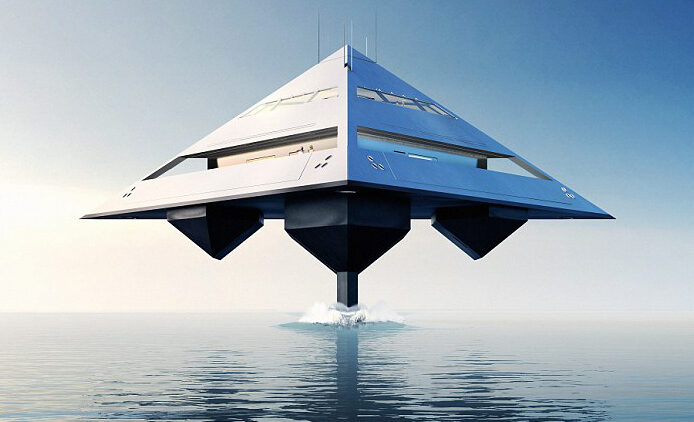 Jonathan Schwinge's HYSWAS flying tetrahedron super yacht concept