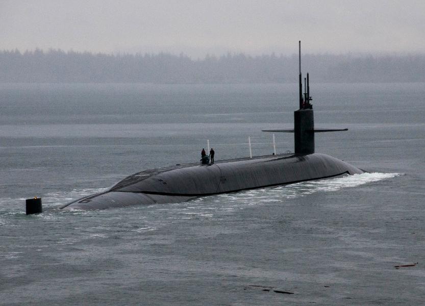 Ohio-class ballistic-missile submarine USS Kentucky departs refueled