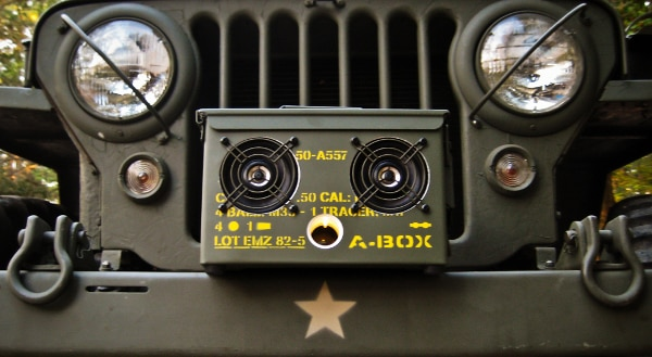 Never has a speaker looked more at home on a Jeep