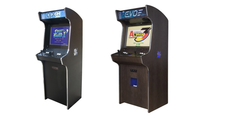 The narrow Apex and wider Evo standups (Photo: Bespoke Arcades)