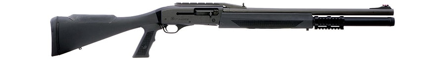 An extended magazine tube and fully adjustable rifle sights