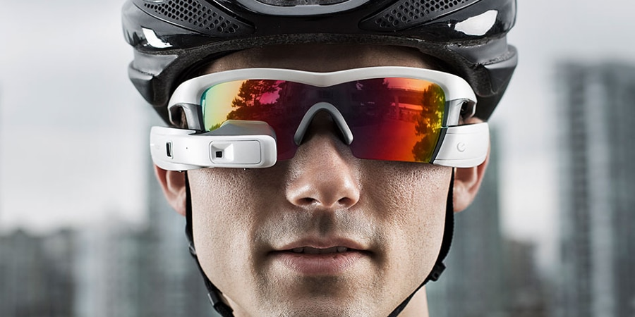Sunglasses with a heads-up display, for active outdoorsy types (Photo: The Sharper Image)