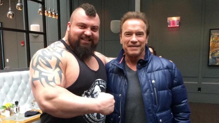 strongman Eddie Hall with Arnold Schwarzenegger
