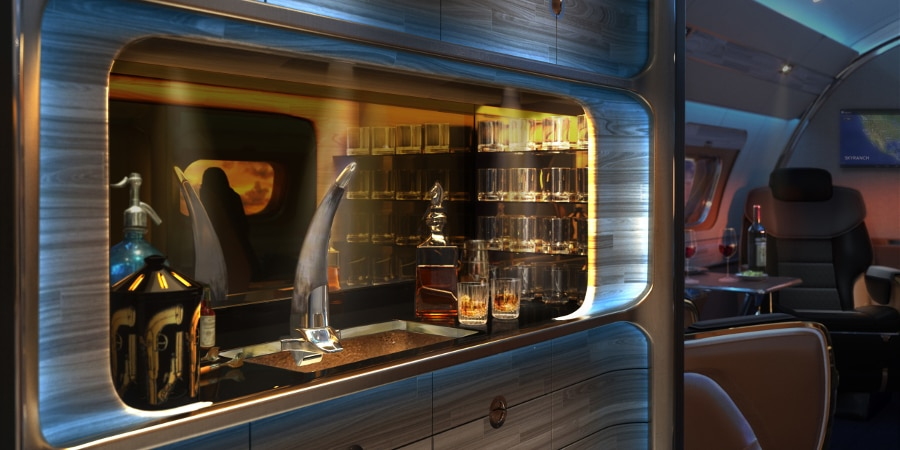 Yes, the galley features a bison horn beer tap (Photo: Sotto Design/Embraer Executive Jet)