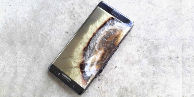 An exploded Samsung Galaxy Note7 (Photo: PhoneArena)