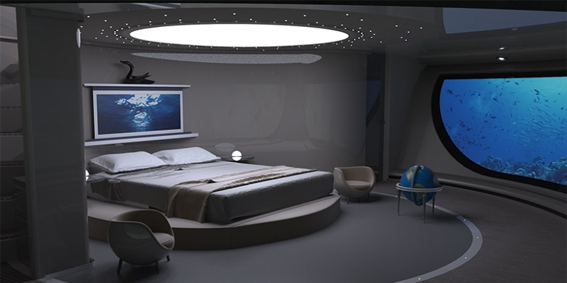 The master bedroom, with watery view (Photo: Jet Capsule)