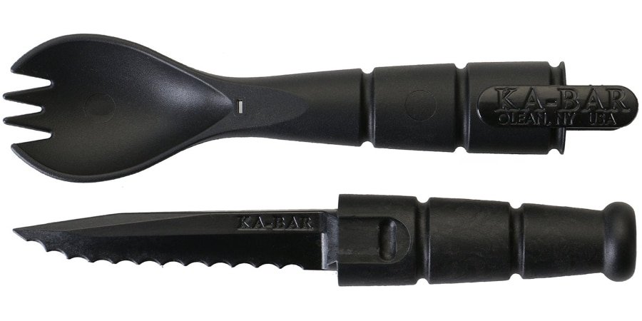 The tactical spork features a hidden 2 1/2-inch serrated blade (Photo: KA-BAR Knives)