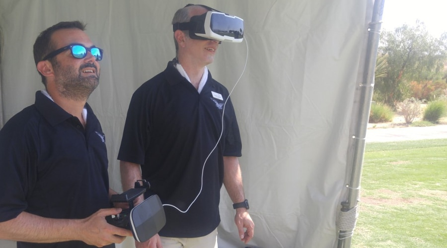 Trying out the FPV with the expert at the stick (Photo: Scott Tharler)