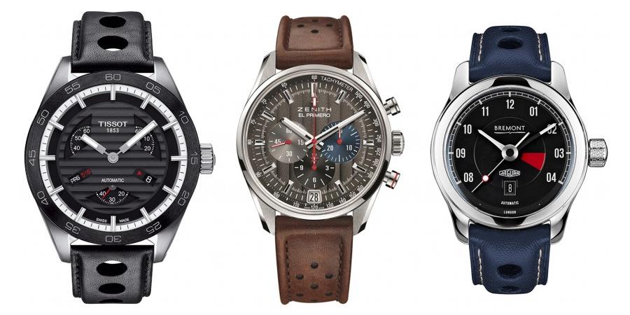 Three car watches (Photo: Tissot, Zenith, Bremont)