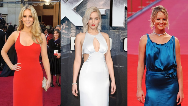 Jennifer Lawrence at various premieres in red
