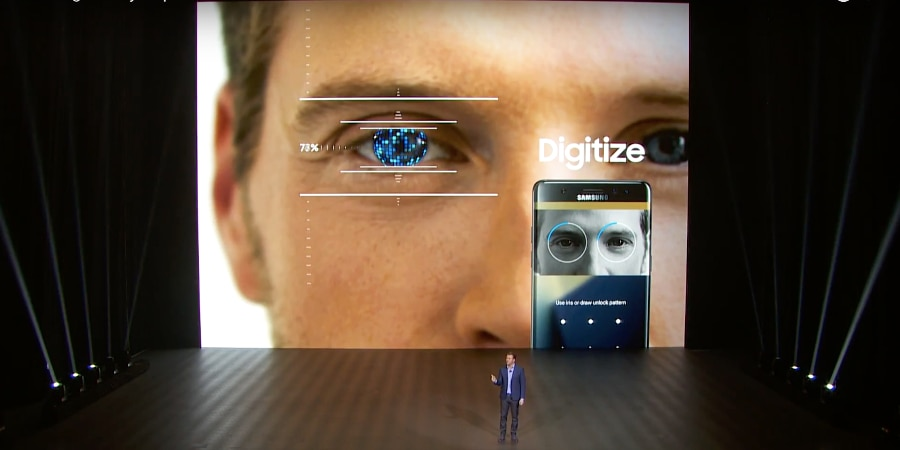 Iris scanning for privacy, security and payments (Photo: Samsung Electronics/YouTube)